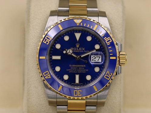Rolex Submariner 116613LB Ceramic Blue Two Tone 18K Gold - 2017 Box & Papers!