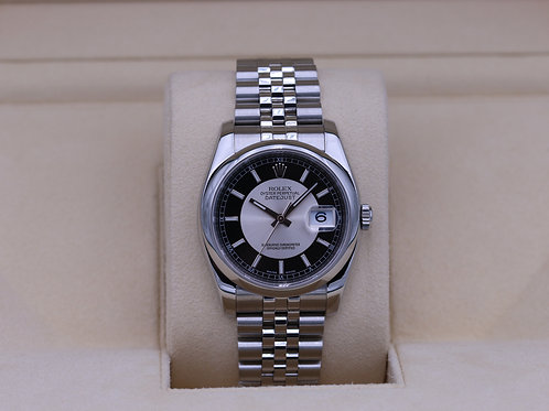 Rolex DateJust 116200 Tuxedo Dial Jubilee 36mm - Box & Papers