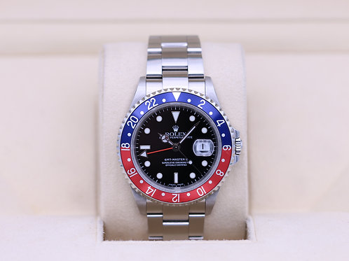 Rolex GMT Master II 16710 Pepsi - F Serial No Holes Case - Box & Papers