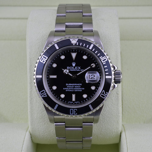 Rolex Submariner 16610 - D Serial No Holes Case - Box & Papers
