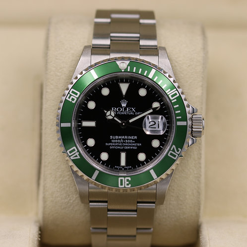 "Rolex Submariner 50th Anniversary 16610LV ""Kermit"" - D Serial - Box & Papers"