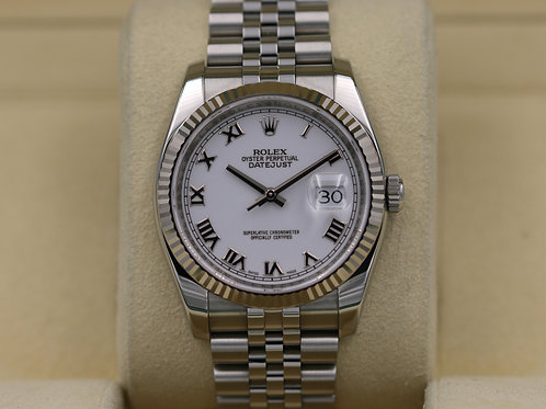 Rolex DateJust 116234 White Roman Dial 36mm Jubilee - Box & Papers!