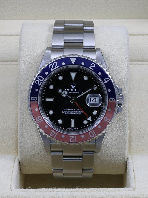 Rolex GMT Master II 16710 Pepsi - F Serial No Holes Case