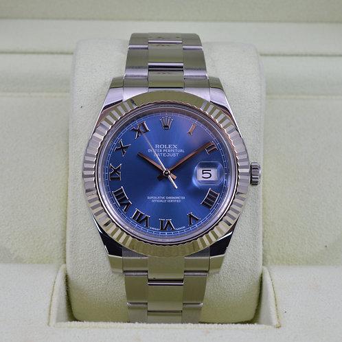 Rolex DateJust II 116334 Blue Roman Dial - Box & Papers