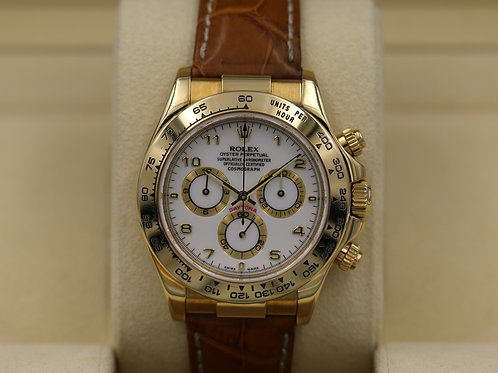 Rolex Daytona 116518 18K Gold/Leather Strap - Box & RSC
