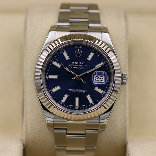 Rolex DateJust II 116334 Blue Dial Stainless - 2017 Box & Papers