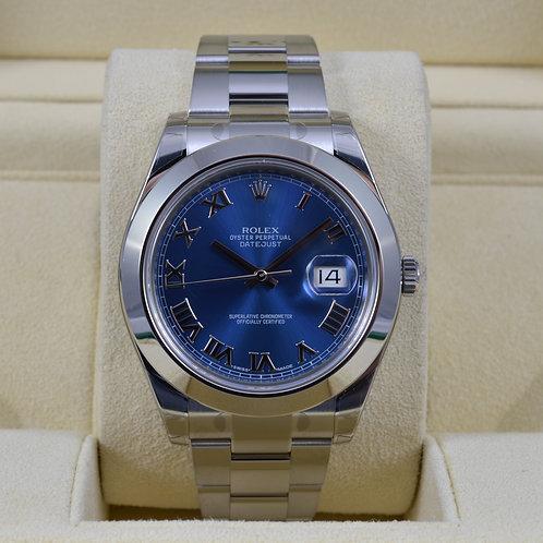 Rolex DateJust II 116300 41mm Blue Roman - 2017 NEW