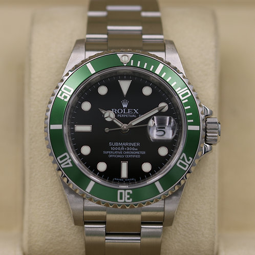 "Rolex Submariner Anniversary 16610LV ""Kermit"" - M Serial Engraved"