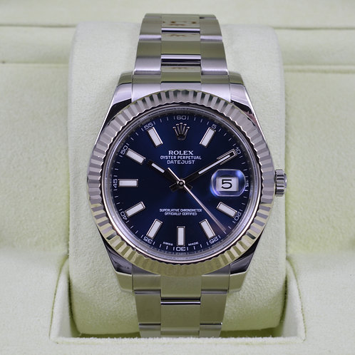 Rolex DateJust II 116334 Blue Stick Dial - Box & Papers 2014