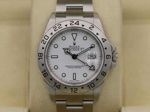 Rolex Explorer II 16570 White Dial Polar - D Serial No Holes Case