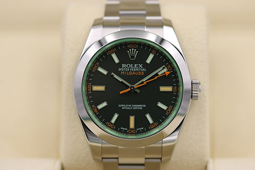 Rolex Milgauss 116400GV Black Dial Green Sapphire Stainless - 2017 Box & Papers!