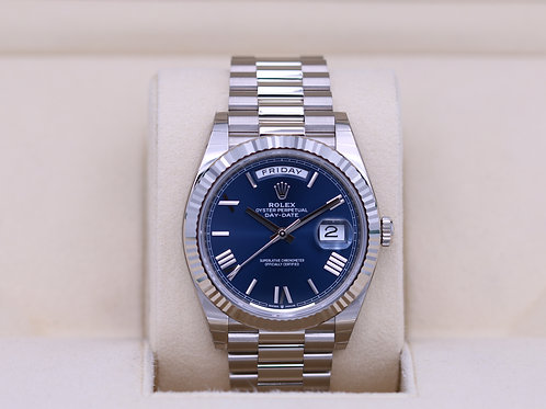 Rolex Day-Date 40 228239 White Gold Blue Roman Dial - 2020 Box & Papers
