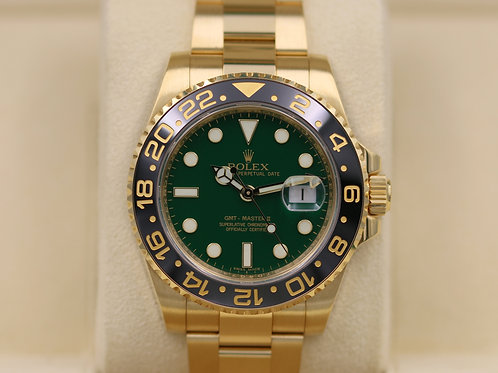 Rolex GMT Master II 116718 18K Yellow Gold & Green Dial - Box & Papers!