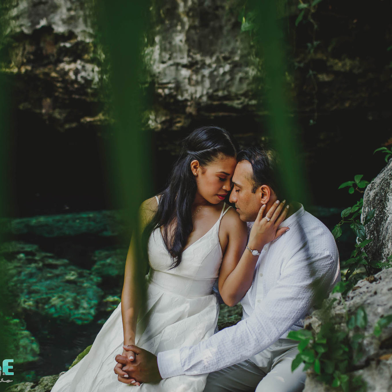 bride and groom trash the dress