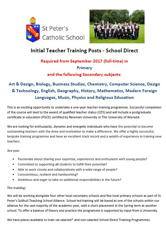 Interested In Training To Be A Teacher St Bernadettes Catholic
