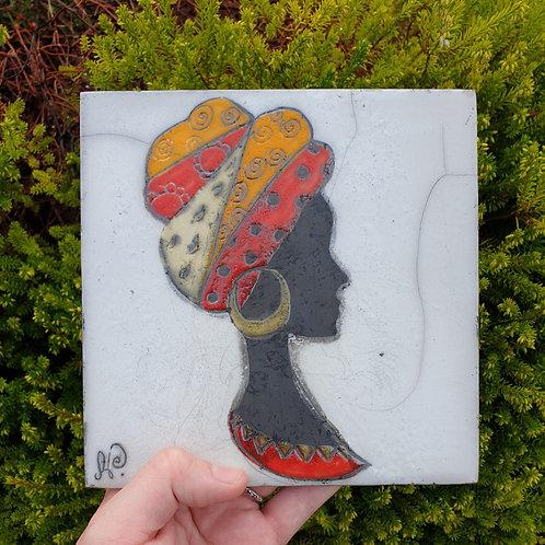 Raku Tile, African Woman
