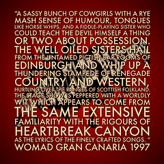 The Well Oiled Sisters review WOMAD Gran Canaria 1997
