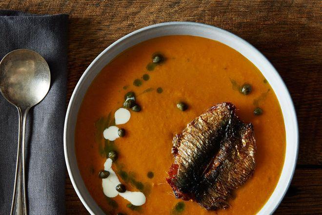 Tomatoes Soup and Sardina deep Fried