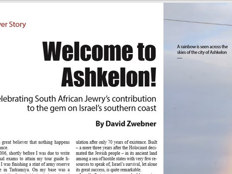 Welcome to Ashkelon! Celebrating South African Jewry's contribution to the gem on Israel's southern