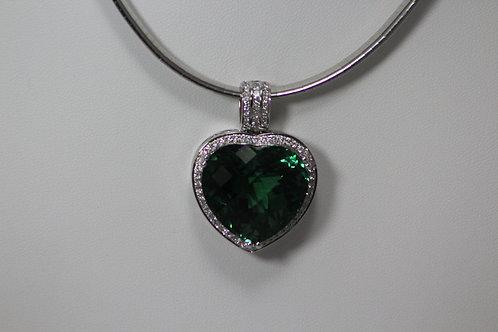 Green Amethyst and Diamond Heart Pendant