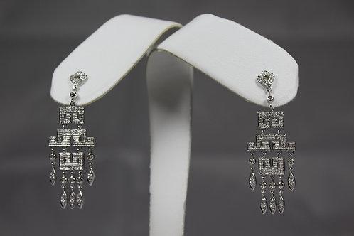 Diamond Robot Dangle Earrings