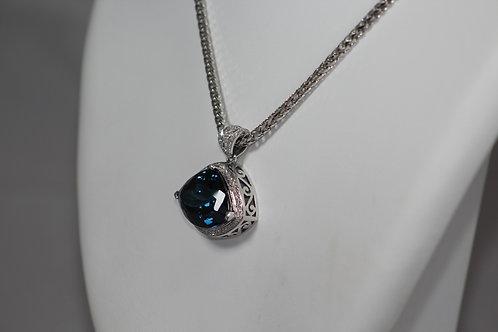 Blue Topaz And Diamond Pendant