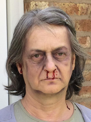 Sandy Gulliver actor with SFX makeup in Seeing Dead