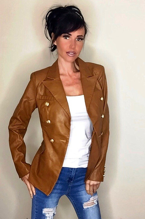 Camel faux leather golden button double breasted blazer