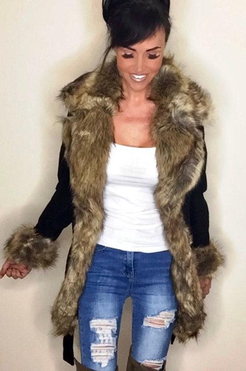 Black Suede Effect Faux Fur Belted Jacket
