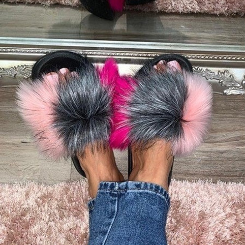 Pink Grey Faux Fur Sliders