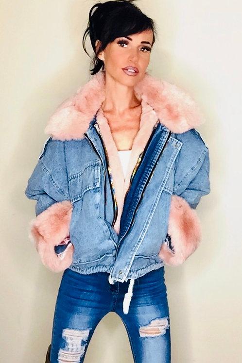 Pink Faux Fur Denim Coat