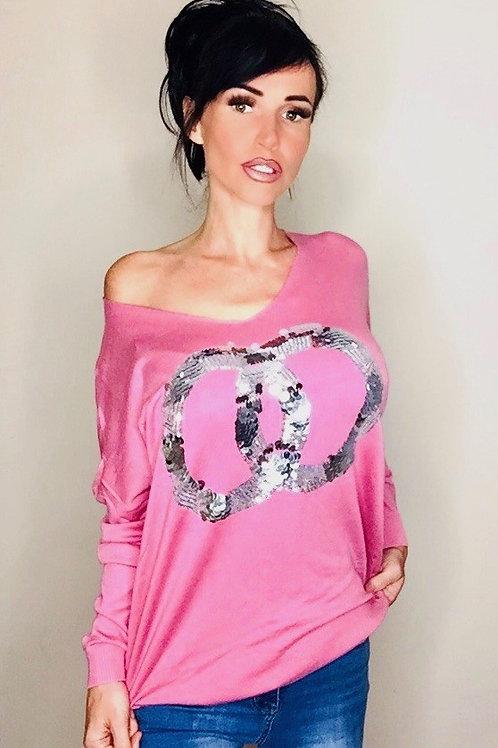 Pink Sequin Link Fine Knit Jumper