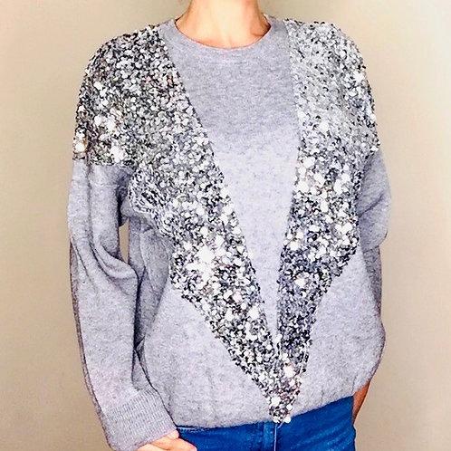 Grey Sequin Front Wool Jumper