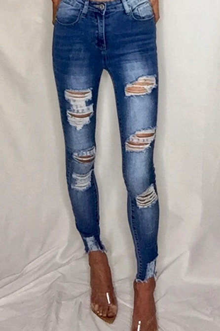 Extreme Ripped High Waist Skinny Jeans