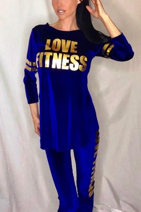 Royal Blue Velvet Love fitness lounge wear tracksuit set