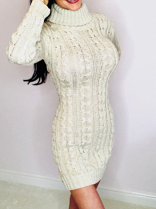 Stone Roll neck cable knit jumper dress