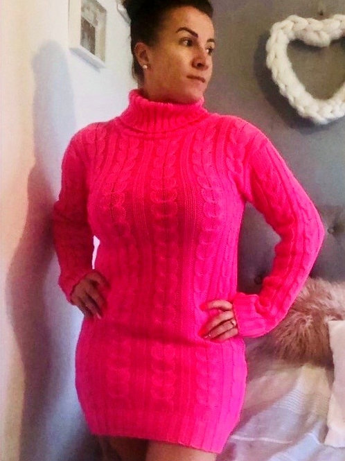 Roll neck cable knit jumper dress Neon pink