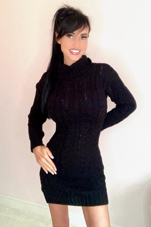 Black Roll neck cable knit jumper dress