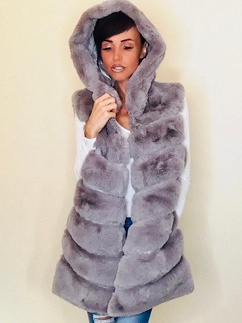 Light Grey Hooded Faux fur Gilet
