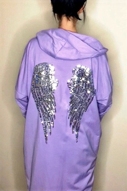 Lilac Sequin Angel Wing Hooded Jacket