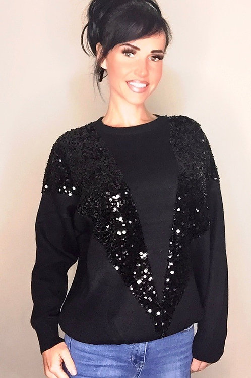 Black Sequin Front Wool Jumper