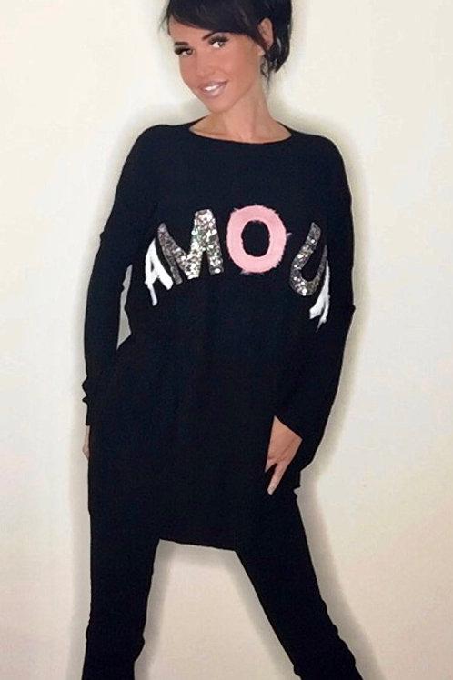 Amour Sequin & Faux Fur Lounge Set Black