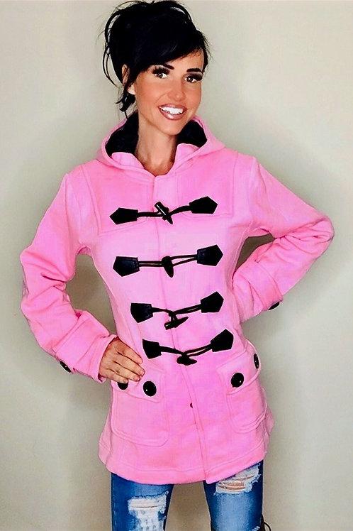Baby Pink Fleece Hooded Toggle Coat