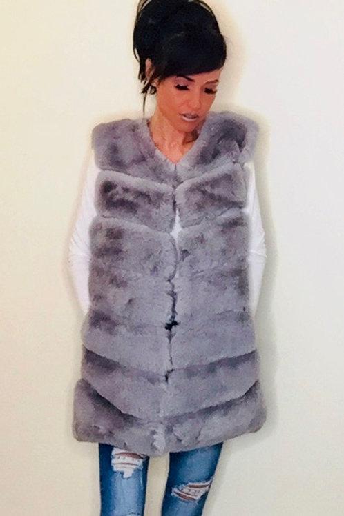 Light Grey Faux fur Gilet