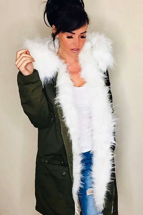 Khaki White Faux Fur Fleece Lined Parka Coat
