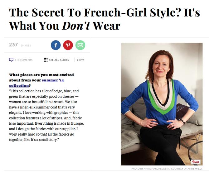 Anne Willi ouvre sa boutique à New York, interview américain avec la styliste.