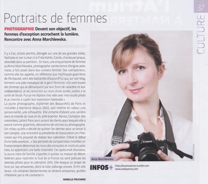 """""""Portraits de femmes"""" - article dans le magazine Nanterre Info"""