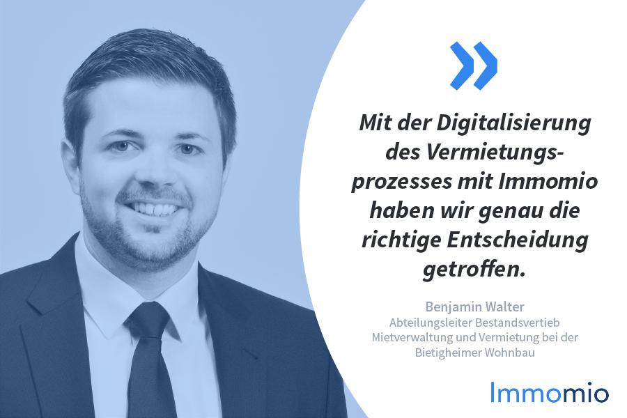 Immomio Kundenstory Benjamin Walter Bietigheimer Wohnbau