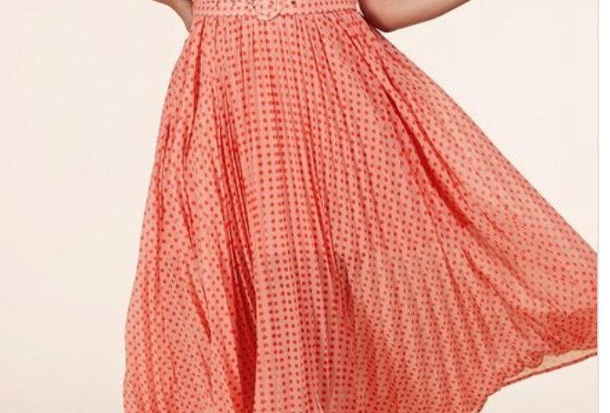Cantaloupe Polka Dot Plus Maxi Dress