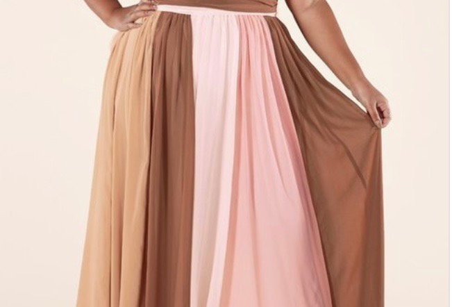 Colorblock Plus Maxi Dress